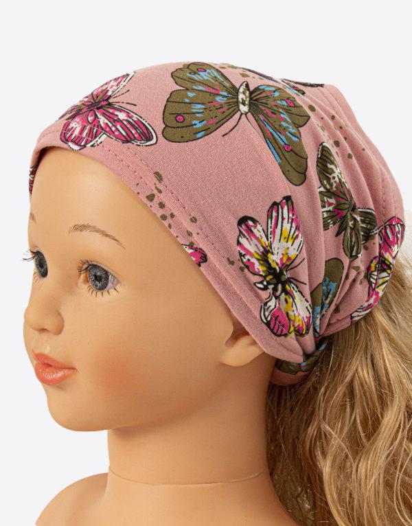 Bavlnená šatka ružová motýle