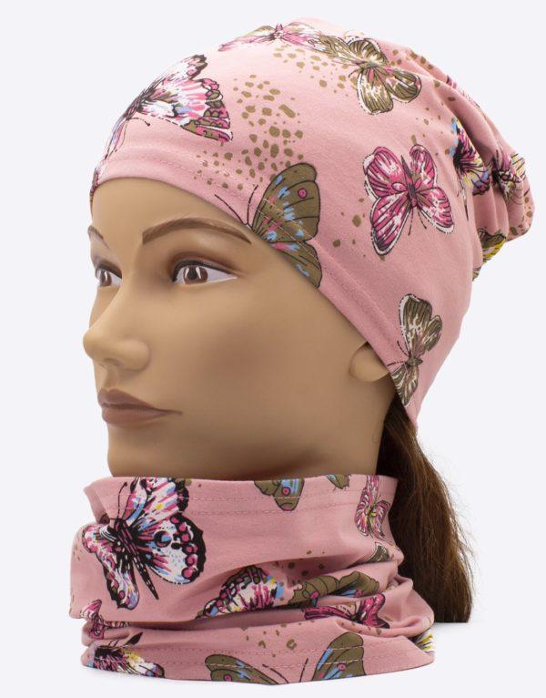 Set čiapka a nákrčník motýle ružová