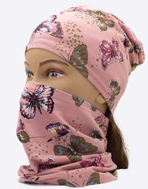 Bavlnený nákrčník motýle ružový