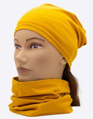 set čiapka a nákrčník mustard