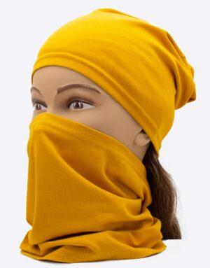Bavlnený nákrčník s čiapkou Mustard