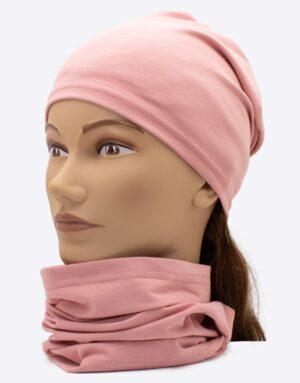 Set čiapka a nákrčník Ružová